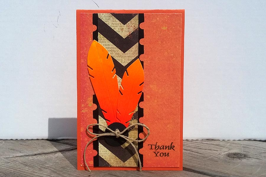Card - Orange Feathers