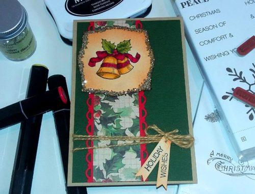 Christmas Card - Glitter Glass and Golden Bells