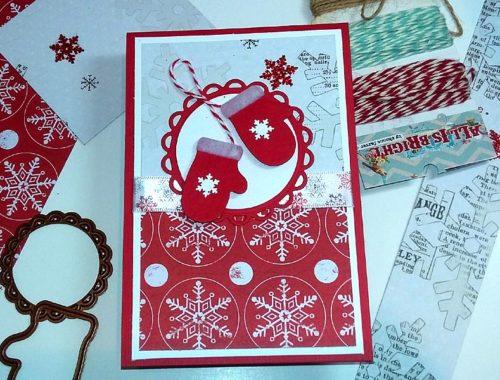 Christmas Card - Red Woolen Mittens
