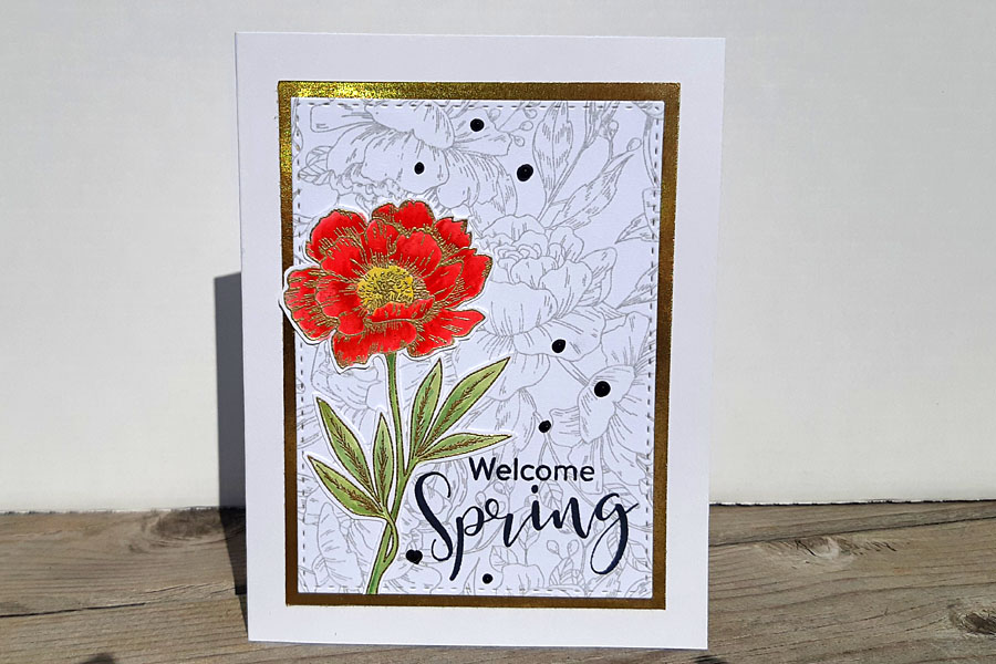Welcome Spring Coral Flower Greeting Card