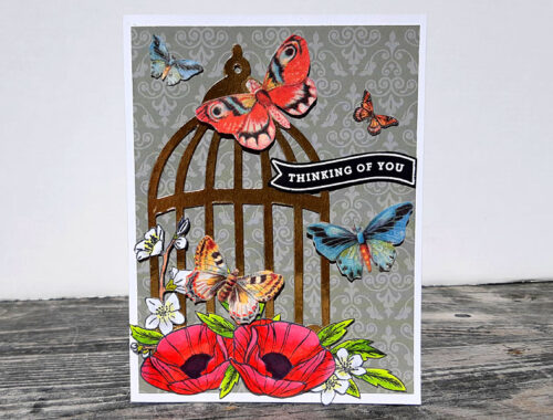 Butterflies in a Bird Cage - Thinking of you card